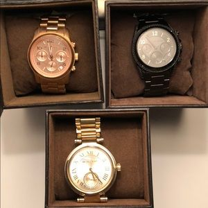 Rose Gold, Black & Yellow Gold Michael Kors Watch